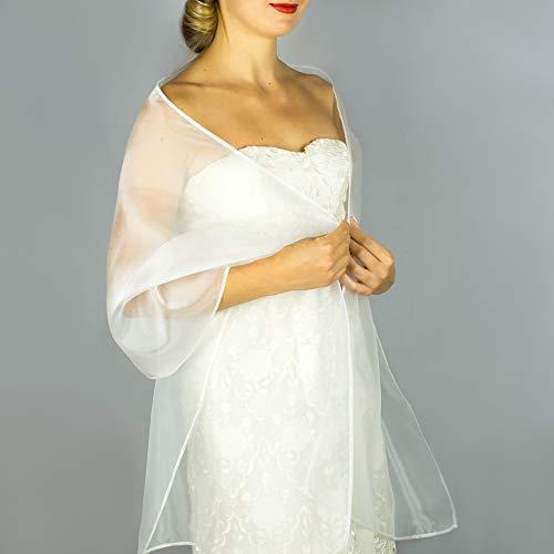 Chal organza color blanco novia boda para vestido de novia