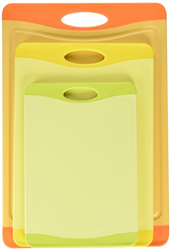 Uniware Microban Antimicrobial Cutting Board Set of 3, Orange/ Yellow / Green