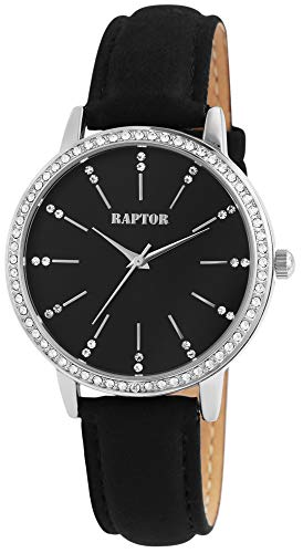 Raptor Damen-Uhr Echt Leder Armband Strass Glitzer Elegant Analog Quarz RA10176 (schwarz)