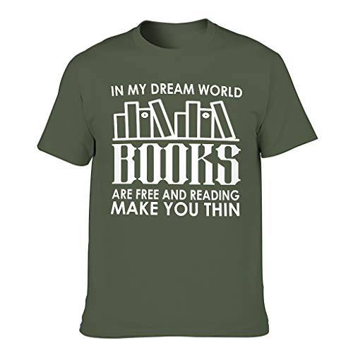 Camiseta para hombre con el texto en alemán 'Meine Traumwelt Libros sind frei LesMacht Dich Slim Print' verde militar XXXXXL