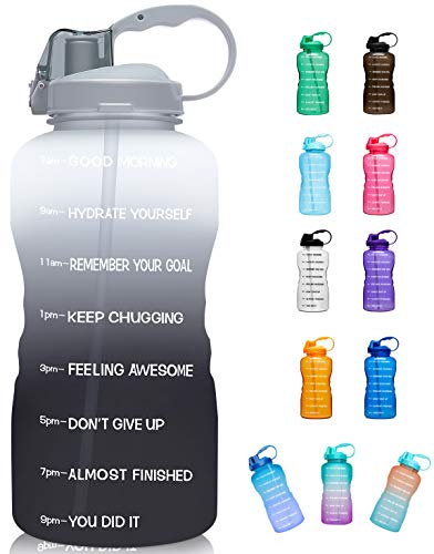 Giotto Large 1 Gallon/128oz (When Full) Motivational Water Bottle with Time Marker & Straw, Leakproof Tritan BPA Free for Fitness, Gym and Outdoor Sports-White/Gray Gradient