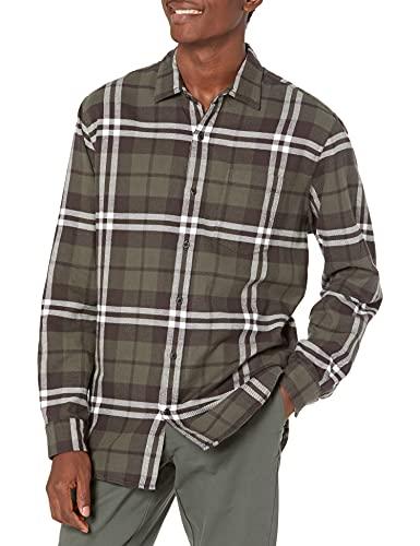 Amazon Essentials - Camicia da uomo, a maniche lunghe, vestibilità standard, a quadri, in flanella, Verde (Olive Plaid), US S (EU S)