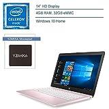 2020 HP Stream 14 14' Laptop Computer for Business or Education, Intel Celeron N4000 up to 2.6GHz, 4GB RAM, 32GB eMMC, AC WiFi, Bluetooth 4.2, Windows 10, Rose Pink + YZAKKA Mousepad