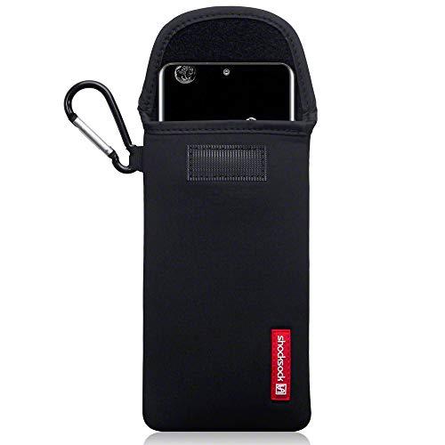 shocksock, Kompatibel mit Samsung Galaxy S20 Ultra Neopren Tasche mit Carabiner Hülle - Schwarz