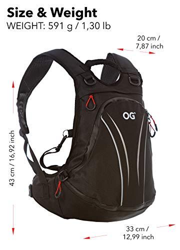 OG Online&Go Roadrunner Motorrad-Rucksack Wasserdicht Schwarz Leicht 20-30l, Motorradhelm-Tasche, Helm-Trageriemen, Fahrrad-Rucksack, Anti-Diebstahl, Laptop-Fach, Reflektierend - 8
