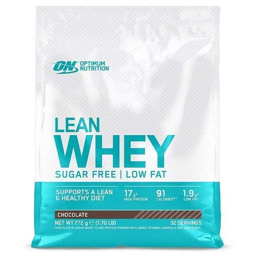 Optimum Nutrition Lean Whey - Proteínas en polvo sin azúcar con vitaminas y minerales, bajo en grasas, Chocolate, 32 porciones, 772 g