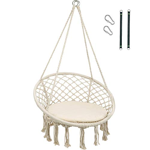 RedSwing Hanging Hammock Chair, Macrame Swing Chair with Cushion and Hardware Kits, Cotton Rope Hammock Swing Chair for Indoor Bedrooms and Outdoor Use