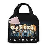 Amigos TV Show Flowers portátil aislado bolsa de almuerzo para mujeres, hombres, niños y niñas con trabajo picnic viajes