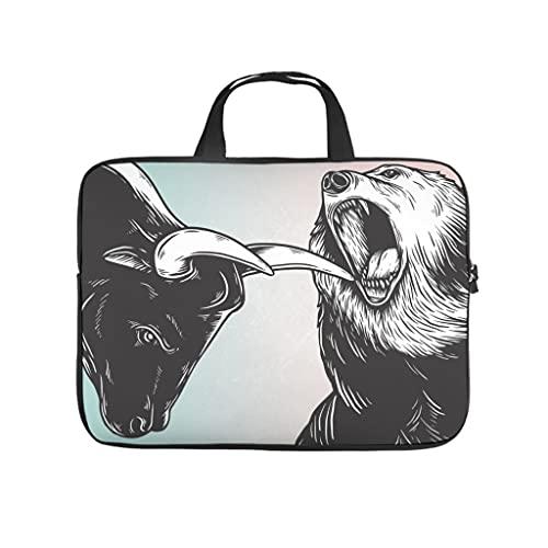 Facbalaign Funda para portátil con diseño de oso y toro para tablet, impermeable, suave, resistente al desgaste, con asa., Blanco, 10 pulgadas,
