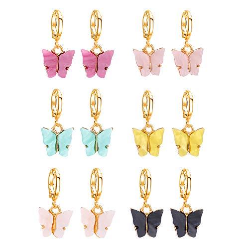 Nifocc 6 pares de pendientes de mariposa de acrílico colorido colgante de mariposa pendientes de mariposa lindos pendientes colgantes de mariposa para mujeres y niñas