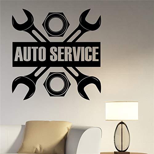 Aicedu Auto-Service, vinylsticker, voor ramen, zelfklevend, motief kamer, garage, wanddecoratie, modern design, 58 x 60 cm