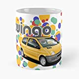 HUONGLILY Design Yellow Automotive Cars French Renault 1993 Red Twingo Colours Graphic Art La Mejor Taza de café de cerámica de mármol Blanco de 11 oz