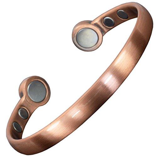 Bracelet En Cuivre Pur Avec 6 Puissants Aimants Idée Cadeau Bracelet Magnétique Homme Femme Super Cadeau Anniversaire Bracelet Jonc Unisexe + Boîte Cadeau (Poignet 16,5-19,5cm)