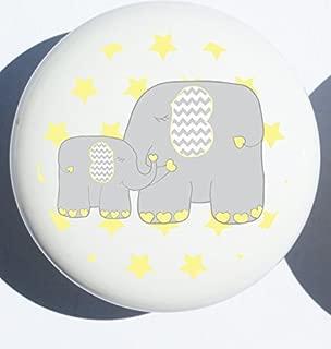 Single Yellow Elephant Drawer Pull Knob Jungle Safari Mother and Baby Elephant Cabinet Handles Nursery Decor