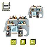 BOARTI Kinder Regal Elefanten Duo in Grau - geeignet für die Toniebox und ca. 59 Tonies - zum Spielen und Sammeln