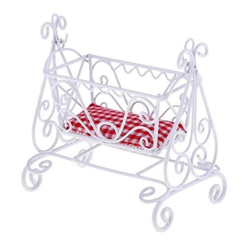 KESOTO Escala 1/12 Casa de Muñecas Muebles en Miniatura Cuna de Metal Blanco