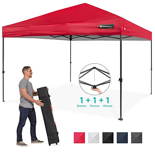 Best Choice Products 10x10ft Easy Setup Pop Up Canopy Instant Portable Tent w/ 1-Button Push, Wheeled Carry Case - Red