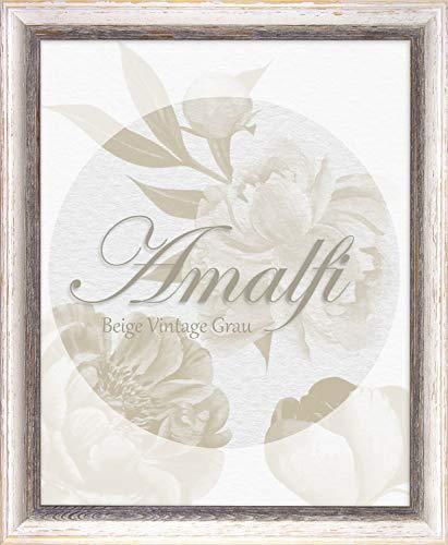 BIRAPA Holz Bilderrahmen Amalfi 61x91,5 cm in Braun Weiß Vintage Shabby Chic mit Antireflex-Kunstglasscheibe