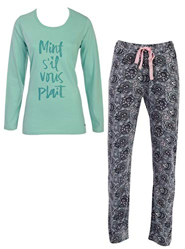 By Louise Damen Pyjama Schlafanzug Nachtwäsche Nightwear Loungewear Mint grau Spruch, Grösse:L - 40, Farbe:Mint