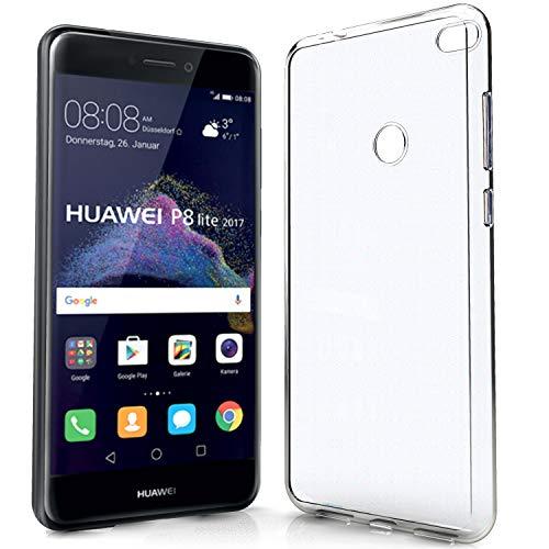 NewTop Cover Compatibile per Huawei P8 Lite/2017/Smart, Custodia TPU Clear Silicone Trasparente Slim Case Posteriore (per P8 Lite 2017)