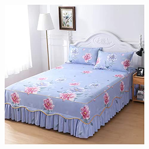 Luxuriöses Polyester-betttuch, Gesteppt, 3-seitig, 40 Cm Falllänge Bettrockhöhe, Staub-rüschen, Dreiteilig Bettvolant Bett Blatt Staubdicht/knitterfrei/rutschfest ( Color : D , Size : 3pcs120X200cm )