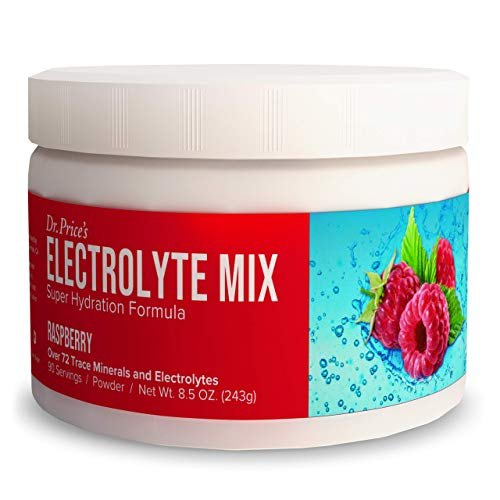 Electrolyte Mix Supplement Powder, 90 Servings, 72 Trace Minerals, Potassium, Sodium, Electrolyte Replacement Keto Drink | Raspberry Flavor | Dr. Price's Vitamins, No Sugar, Vegan, Non-GMO