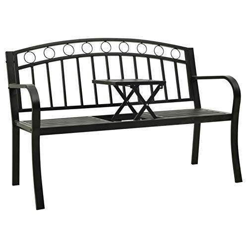 Festnight Gartenbank mit Tisch 2 Sitzer Sitzbank 125 cm Außenbank Wetterfest Parkbank Stahl Terrassenbank Metall Ruhebank Balkonbank Bank für Garten Balkon Outdoor Terrasse, Schwarz