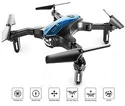 ScharkSpark Drohne, transportierbarer RC-Quadcopter mit faltbaren Armen zum drinnen / draußen Spielen, 2.4 Ghz 4 CH 6-achsige Gyro / EIN-Tasten-Rückkehr / Kopflos-Modus / Höhe-halten / 3D-Flips