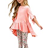 Girls T Shirts Summer Fall Cute Tops Ruffle Swing High Low Blouses (9-10Years/Height:51in, Pink)