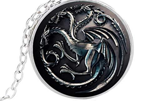 Féeries et merveilles Collier Dragon Phosphorescent, Statuette Dragon, Figurine Dragon, Game of Thrones