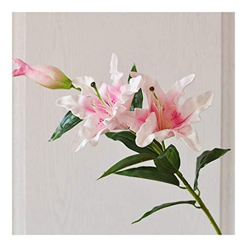 Flor Artificial Rosa del Lirio del Lirio Blanco Lirio de la simulación Realista de la falsificación de la Boda Ramo de Flores de Flores Suministros Grave (Color : Pink)