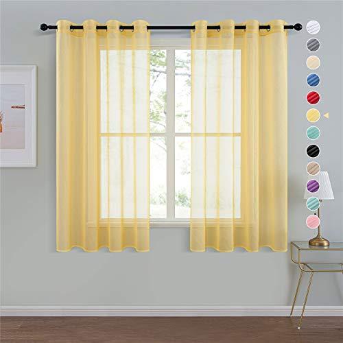 Visillos amarillos pasa salón (2 Piezas) 140x160cm