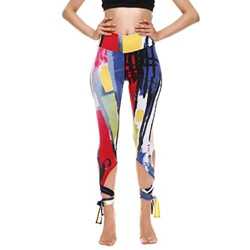 Leggings Damen Sport Yoga Hose Laufhose Fitnesshose Jogginghose Damen Capri-Leggings Freizeithose 3D Drucken Leggings mit Ballett Riemchen Capri Hose Casual kurz Freizeithose