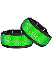 RYACO LED-armband, 2-pack Glow-armband Veiligheidslicht Sport-polsband Enkel reflecterende strips met LED-knipperlichten voor hardlopen, joggen, Outdoor-oefeningen en activiteiten