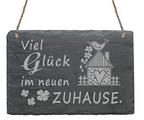 Wetterfeste Schiefertafel VIEL GLÜCK IM NEUEN ZUHAUSE Schild mit Motiv Vogelhaus Motiv ca. 22x16 cm