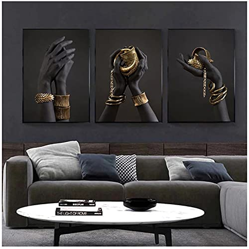 QIAOB Mural de Lienzo Abstracto, Mano de Piel Negra con Pulsera Dorada, Pintura al óleo, póster de Arte Africano e Impresiones, Cuadro de Arte de Pared, sin Marco