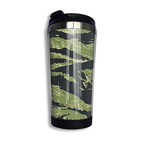 Tiger Stripe Camo Taza de café de acero inoxidable taza taza de viaje taza botella de agua para mantener caliente o frío 400 ml/13 oz
