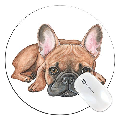 FannyD French Bulldog Unique 8' Round Mouse Pad, Low Profile (1/8') with Anti Slip Rubber Backing & Cloth Surface Featuring Art by Fanny Dallaire. for PC, Laptop, Mac (French Bulldog)