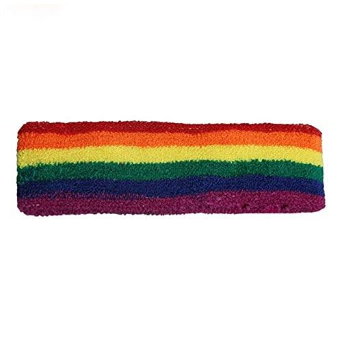 Unisex Sports Workout Rainbow Rayas Diadema Toalla de Pulsera Sweatband Correr Bádminton Brazales Transpirables