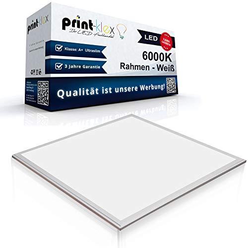 LED Panel Ultraslim 62x62cm Deckenleuchte Lampe Flächenleuchte 6000K-Kaltweiß 40W 3600 LM Weißer Rahmen - Office Plus Serie