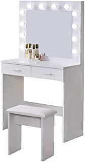 OFCASA Sminkbord- och spegelset med LED-lampor, modernt sminkbord i Hollywood-stil med 2-lådors sminkbyrå för flickor, skr...
