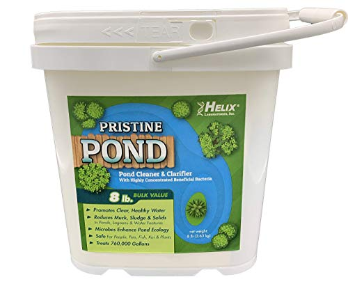 Pristine Pond Cleaner and Clarifier with Highly Concentrated Beneficial Bacteria. Reduces Muck, Solids, and Sludges in Lagoons, Ponds, Water Features. Safe for Koi (8.00, 8 Pounds)