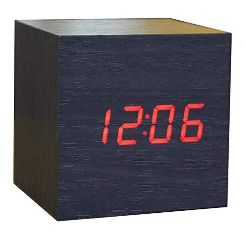 MJ-Alarm Clock Horloge en Bois, réveil électronique en Bois LED