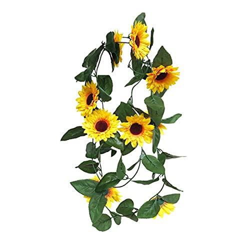 zlw-shop 24. 0cm. Artificial Sunflower Garland Hanging Girasole della Seta Artificiale Vite Fiori Ghirlanda con Foglie Verdi for la Festa Nuziale Decorazione Domestica