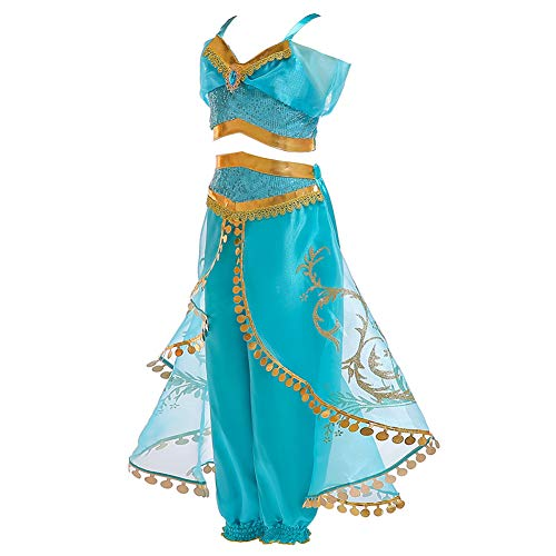 JK Disfraz de Princesa Jasmine con Lentejuelas para niñas, Vestido ...