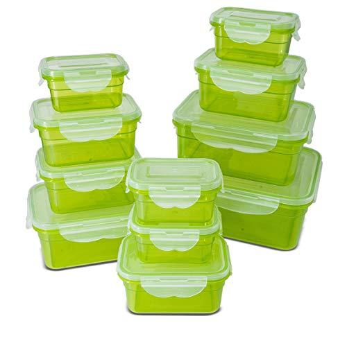 My Home Frischhaltedosen Klickverschluss, Luftdichte Aufbewahrungsboxen, geeignet für Mikrowelle, Gefrierschrank und Spülmaschine, grün, 11er set