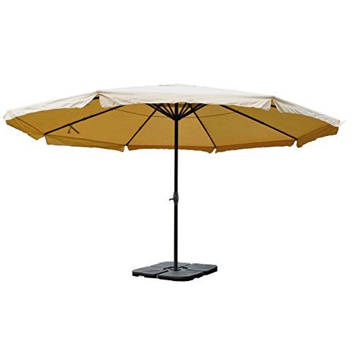 Sonnenschirm Meran Pro, Gastronomie Marktschirm mit Volant Ø 5m Polyester/Alu 28kg - Creme mit Ständer