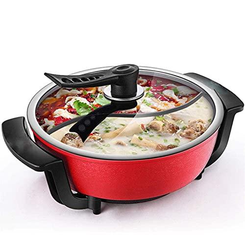 Pote Caliente Doble, Olla de Cocina integrada con Control de termostato Ajustable y sin Palo, 1300W