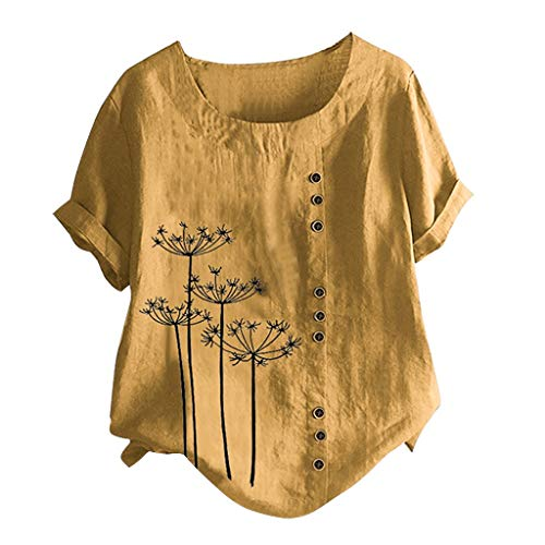 Janly Clearance Sale Camiseta de manga corta para mujer, con estampado de botones, tallas grandes, para verano, color amarillo y L)
