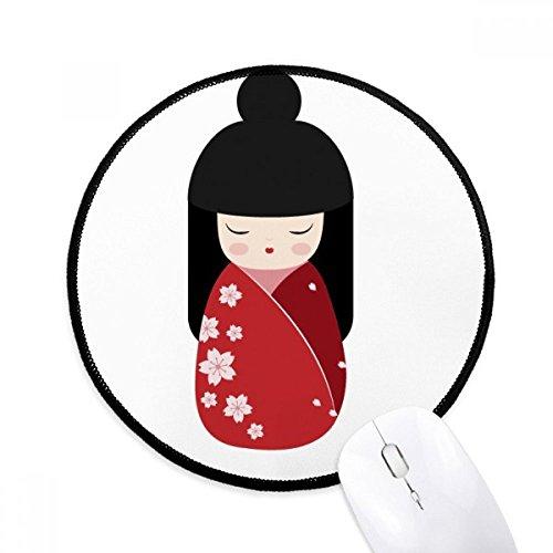 DIYthinker Rode Kimono Sakura Japan Ronde Antislip Mousepads Zwart Titched Edges Game Kantoor Gift